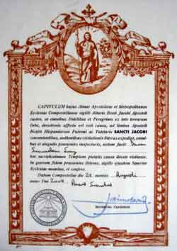 Compostela eines Heiligen Jahres
