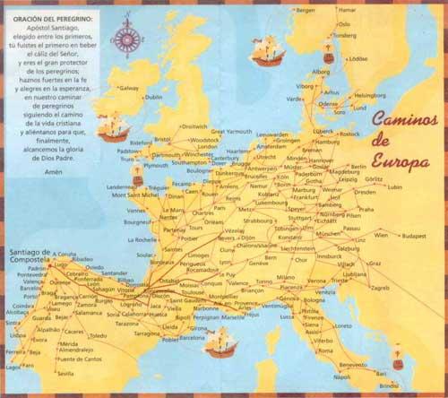 Karte der europäischen Jakobswege.